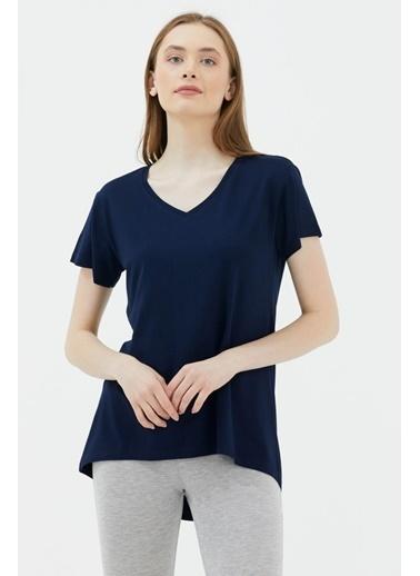 Sementa V Yaka Arkası Uzun Dökümlü Tshirt - Lacivert Lacivert